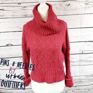 Pins & Needles Red Cable Knit Cropped Sweater